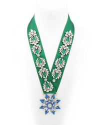 Shourouk - Green Medal Ornament Necklace - Lyst