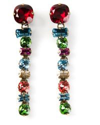 Lanvin - Multicolor Crystal Drop Clipon Earrings - Lyst