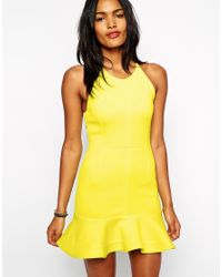Shakuhachi - Yellow Dress In Neoprene With Peplum Frill - Lyst