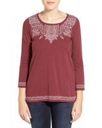 Lucky Brand | Purple Placed Embroidery Tee | Lyst