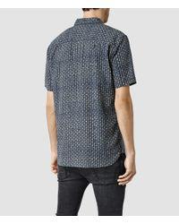 AllSaints - Blue Indiola Short Sleeve Shirt for Men - Lyst
