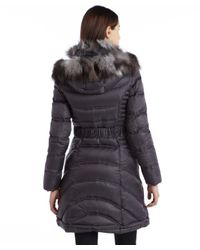 Dawn Levy - Gray Grey Quilted Down Filled Fox Fur Trimmed Belted Jacket - Lyst