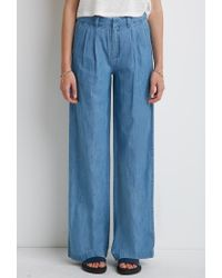 Forever 21 | Blue Wide-leg Denim Trousers | Lyst