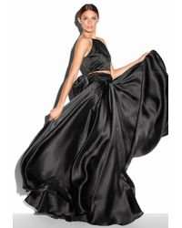 MILLY | Black Satin Organza Bow Ball Skirt | Lyst