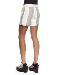 Derek Lam - Black Striped Canvas Drawstring Shorts - Lyst