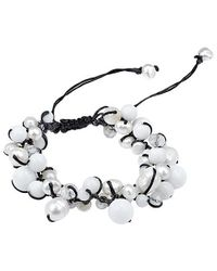 Aeravida | White Pure Romance Pearl And Quartz Medley Cotton Rope Bracelet | Lyst
