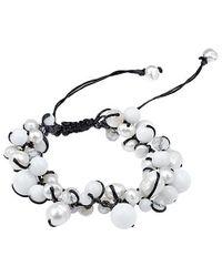 Aeravida - White Pure Romance Pearl And Quartz Medley Cotton Rope Bracelet - Lyst