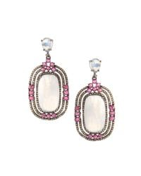 Bavna - Multicolor Rectangular Drop Earrings With Rainbow Moonstones - Lyst