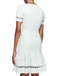 Alexander McQueen - Blue Short-sleeve V-neck Dress W/3d Scallop Trim - Lyst