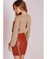 Missguided - Natural Cropped Wrap Blouse Camel - Lyst