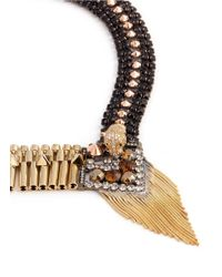 Iosselliani - Metallic Decò Cheetah Crystal Fringe Necklace - Lyst