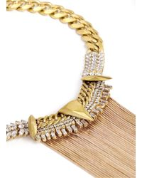 Iosselliani | Metallic Snake Chain Fringe Arrow Pendant Collar Necklace | Lyst
