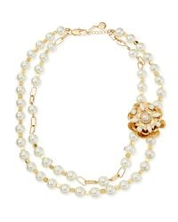 Tory Burch | Metallic Tilde Doublestrand Pearly Necklace Ivory | Lyst
