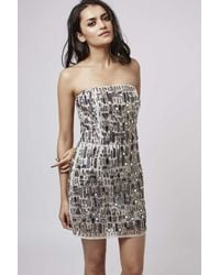 TOPSHOP - Gray Mirror Embellished Bodycon Dress - Lyst