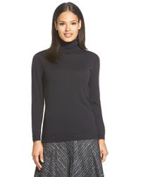 Lafayette 148 New York | Black Fine Gauge Turtleneck | Lyst