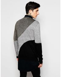 ASOS - Multicolor Colour Block Jumper With Metallic Yarn for Men - Lyst