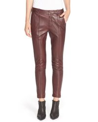 VINCE | Purple Leather Trousers | Lyst