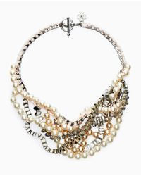 Ann Taylor | Metallic Pearlized Stone Statement Necklace | Lyst