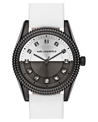 Karl Lagerfeld - Metallic 'petite Stud' Crystal Index Leather Strap Watch - Lyst