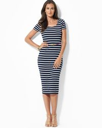 Ralph Lauren | Blue Lauren Petites Short Sleeve Stripe Scoop Neck Dress | Lyst