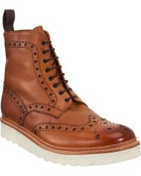 Foot The Coacher - Brown Fred Wingtip Derby Boots for Men - Lyst