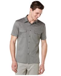 Perry Ellis | Gray Short-sleeve Oxford Shirt for Men | Lyst