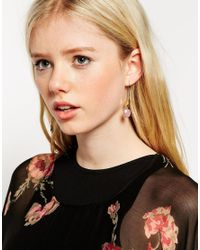 ASOS - Metallic Mismatch Petal Drop Earrings - Lyst