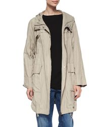 Eileen Fisher | Natural Textured Hooded Metallic Anorak Jacket | Lyst