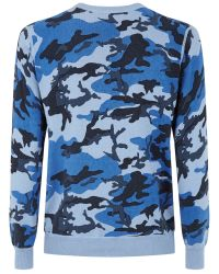 Wolsey | Blue Printed Camo Crew Neck Pull Over Jumper for Men | Lyst