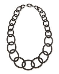 Kenneth Jay Lane - Enamel Oval Link Necklace Blackwhite - Lyst
