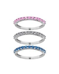 Lord & Taylor - Metallic Multi-color Sapphire And 14k White Gold Stacked Ring Set - Lyst