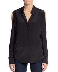 DKNY | Black Cold-shoulder Silk Blouse | Lyst