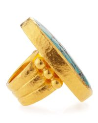 Gurhan - Metallic 24k Gold Large Turquoise Oval Ring Size 6 - Lyst