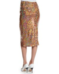 Nina Ricci - Brown Sequin-embellished Midi Pencil Skirt - Lyst
