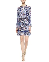 Parker - Blue Ora Long-sleeve Printed Dress - Lyst