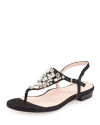Taryn Rose - Black Ibsen Jewel-Embellished Thong Sandals - Lyst