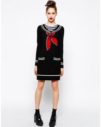 Love Moschino - Black Long Sleeve Sweater Dress With Sailor Neck - Lyst