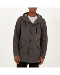 River Island - Gray Grey Hooded Mid Length Jacket for Men - Lyst