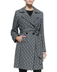 Sofia Cashmere - Black Graphic-print Wool Double-breasted Coat - Lyst