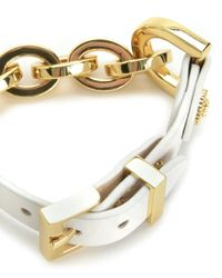 Juicy Couture | White Chain And Leather Bracelet | Lyst