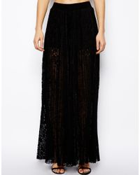 ASOS | Black Wide Leg Trousers in Pleated Lace | Lyst