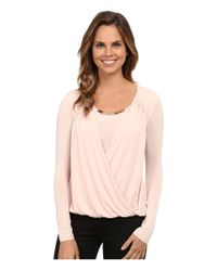 Calvin Klein | Pink Wrap Top W/ Gold Bar Hardware | Lyst