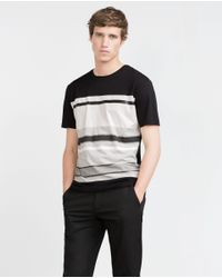 Zara | Black Striped T-shirt for Men | Lyst