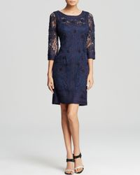 Sue Wong | Blue Dress - Three Quarter Sleeve Soutache | Lyst