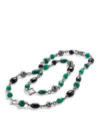 David Yurman - Metallic Bead Necklace With Black Onyx & Green Onyx - Lyst