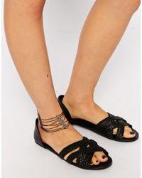ASOS - Metallic Multi Row Filigree Anklet - Lyst