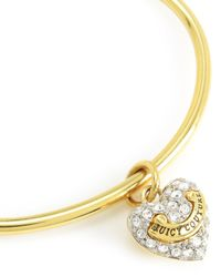 Juicy Couture | Metallic Pave Heart Slider Bangle | Lyst
