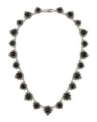 Konstantino | Metallic Scalloped Silver & Onyx Station Necklace | Lyst