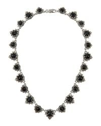 Konstantino - Metallic Scalloped Silver & Onyx Station Necklace - Lyst