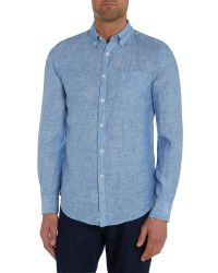Benetton Linen Classic Fit Long Sleeve Shirt in Blue for Men Light